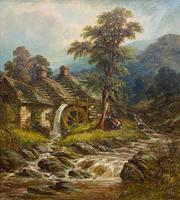 """19th Century Oil on Canvas – """"The Old Watermill"""" by Thomas Thomas (4 of 4)"""