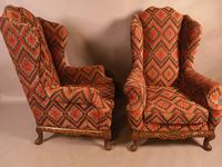 Very Good Pair of Wing Armchairs in the style of George II (15 of 15)