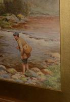 Antique Watercolour - Man Fishing - John Bates Noel 1870-1927 (2 of 3)