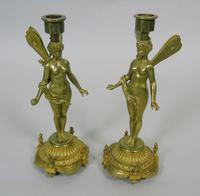 Good Pair of 19th Century French Gilt Bronze Winged Fairy Candlesticks (5 of 5)