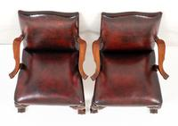 Pair of Chippendale Style Leather Gainsborough Chairs (3 of 8)