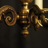 French 5 Light Gilt Brass Antique Chandelier (7 of 9)