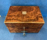 Victorian Burr Walnut Brassbound Jewellery Box