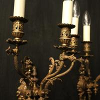 English Pair of Bronze Antique Gasoliers (6 of 10)