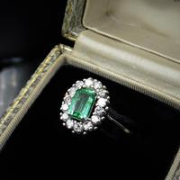 Vintage Emerald & Diamond 18ct White Gold Oblong Cluster Ring (6 of 6)
