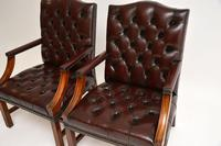 Pair of Antique  Deep  Buttoned Leather Library Armchairs (12 of 12)