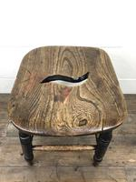 Antique 19th Century Elm Country Made Stool (6 of 8)