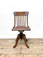 Early 20th Century Antique Oak Swivel Desk Chair (2 of 10)