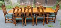 1960s Carved Oak Refectory Table with Set 8 Dining Chairs Green Upholstery (6 of 10)