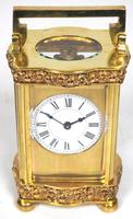 Unique Antique French Carriage Clock with Foliate Carved Decoration to the Serpentine Case
