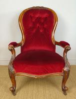 Victorian Red Velvet Armchair (2 of 9)