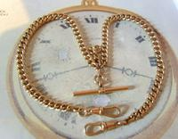 Victorian Pocket Watch Chain 1890s Antique 12ct Rose Rolled Gold Albert & T Bar (4 of 10)