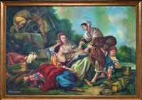 Stunning Large Italian Old Master Revival Vintage Oil on Canvas Painting