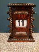 Antique Solid Oak Perpetual Desk Calendar