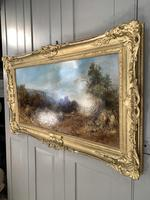 Antique Victorian landscape oil painting entitled Lunch Time by PG Hewett (4 of 11)