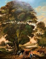 Huge Fabulous 19thc Continental Farming Country Landscape Oil Painting (5 of 19)