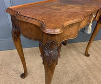 Serpentine Fronted Queen Anne Style Burr Walnut Side Table (10 of 16)