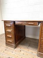 Antique Oak Pedestal Desk (6 of 10)