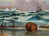 Large Spectacular 19th Century British Seascape Oil Painting - Shipwreck in Rough Seas! (7 of 13)