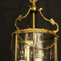 French Small Convex Gilded Triple Light Antique Lantern (7 of 10)