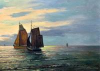 Andries Debeuf Flemish, Stunning Large Moonlit Seascape Oil Painting (4 of 13)