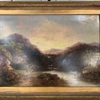 Antique Victorian river landscape oil painting of fishing party 1 of 2 (8 of 10)