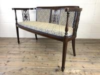 Antique Edwardian Mahogany Inlaid Parlour Sofa (4 of 15)