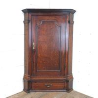 Antique Oak Corner Cupboard with Drawer