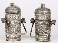 Chinese Pair of Qing Silver Metal Handled Lidded Containers (19 of 22)