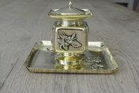 Fine English Victorian Brass Inkwell in the Japanese Inspired Style c.1880 (4 of 7)