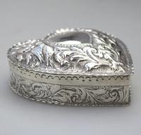William Comyns - Good Solid Silver Novelty Heart Box c.1895 (3 of 11)