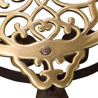 19th Century cast brass and wrought iron fireside trivet (2 of 5)