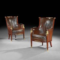 Pair of 19th Century Gilt Bronze Mounted Moroccan Leathered Armchairs, Maison Lalande (5 of 6)