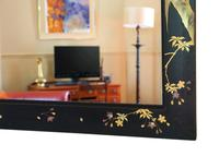 Pair of Black Lacquer Japanese Decorated Wall Mirrors c.1910 (11 of 14)