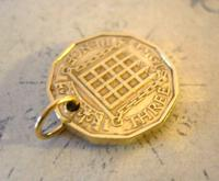 Vintage Pocket Watch Chain Fob 1954 Queen Elizabeth Threpenny Bit Coin Fob (4 of 7)