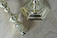 Pair of 18th Century English Gregorian Brass Candlesticks 1710-30 Seamed Stems (8 of 10)