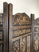 Vintage Indian Hardwood Three Panel Screen Room Divider (m-1806) (9 of 10)