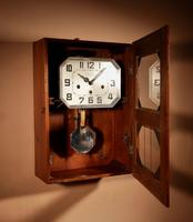Art Deco Westminster Girod Carillon Oak, Rosewood & Fruitwood Wall Clock French c.1940 (5 of 9)