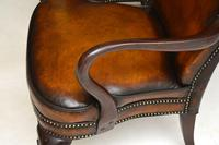 Pair of Georgian Style Leather & Mahogany Armchairs c.1930 (8 of 11)