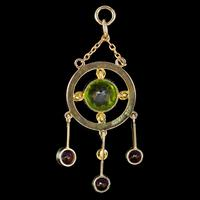 Antique Edwardian Suffragette Pendant 9ct Gold Amethyst Peridot Pearl c.1910 (3 of 6)