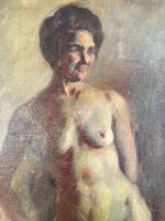 Antique Nude Oil Painting Portrait of Seated Figure by Alys Woodman RBSA (6 of 10)