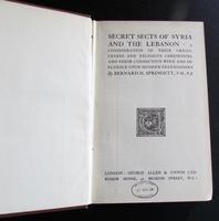 1922 1st Edition  Secret Sects of Syria   & The Lebanon By Bernard Springett (2 of 4)