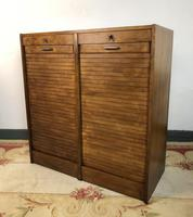 Vintage French Mid Century Filing Cabinet Tambour Roller (2 of 11)