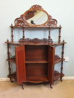 Antique Victorian Burr Walnut Display Whatnot Side Cabinet (11 of 13)