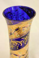 Beautiful Antique Bristol Blue Glass Decorated Vase (5 of 7)