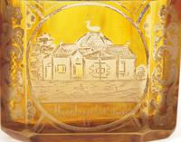 Bohemian Antique Engraved Metal Mounted Overlay Yellow Glass Sugar Casket 19th Century (5 of 19)