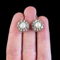 Antique Victorian Rose Cut Diamond Natural Pearl Earrings 3.60ct of Diamond 18ct Gold c.1880 (6 of 7)