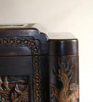 Chinese relief carved camphorwood coffer with an ebonised finish (10 of 23)