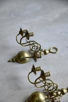Pair of Dutch Style Brass 3 Branch Wall Candle Sconce (6 of 13)