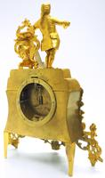 Superb Timepiece Mantle Clock -  Antique 8 Day French Poet Figural Ormolu Mantel Clock (5 of 11)
